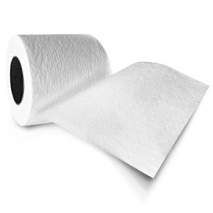 toilet paper with soft shadow over white background...